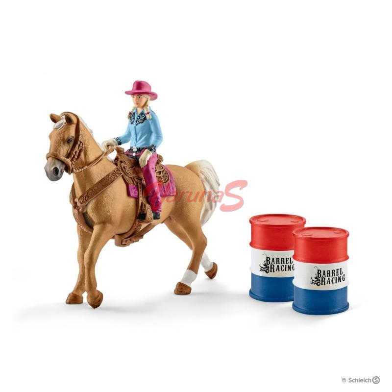 SCHLEICH Cowgirl in cursa cu butoaie