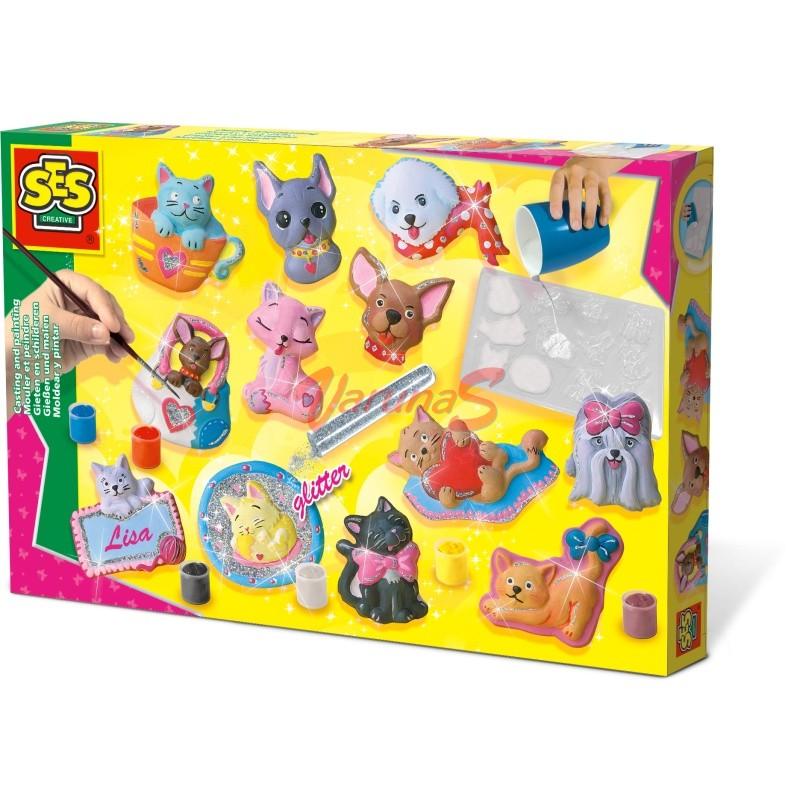 Set creativ mulaj 2D & pictura - Caini & pisici cu sclipici - SES (S01154)