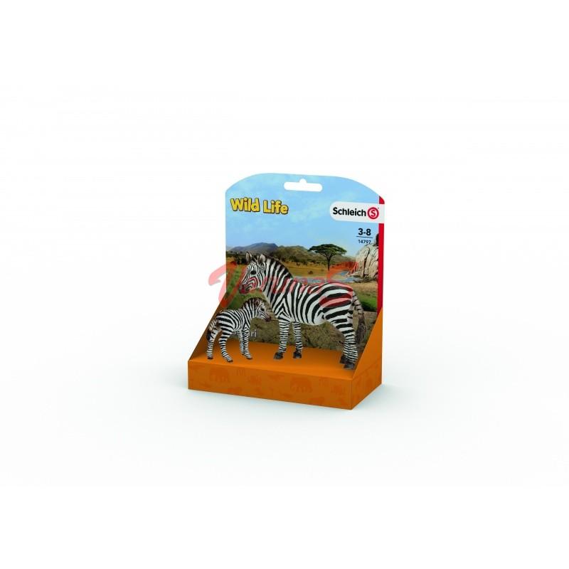 SCHLEICH Zebra femela si pui de zebra (14797L)
