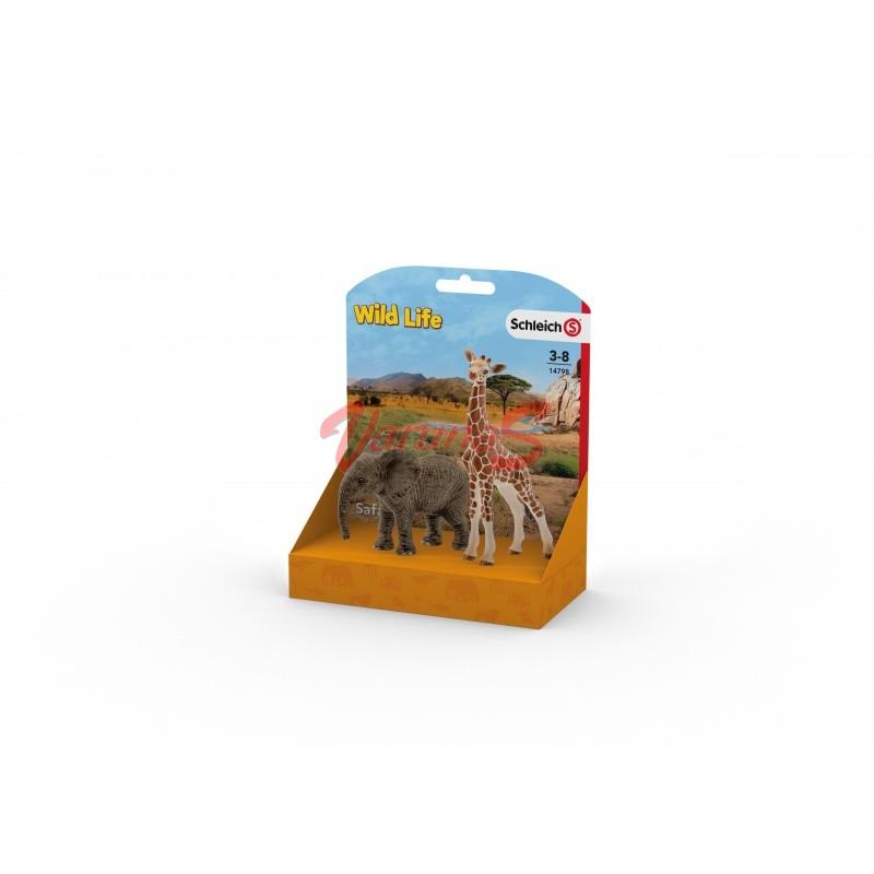 SCHLEICH Pui de elefant african si pui de girafa (14798L)