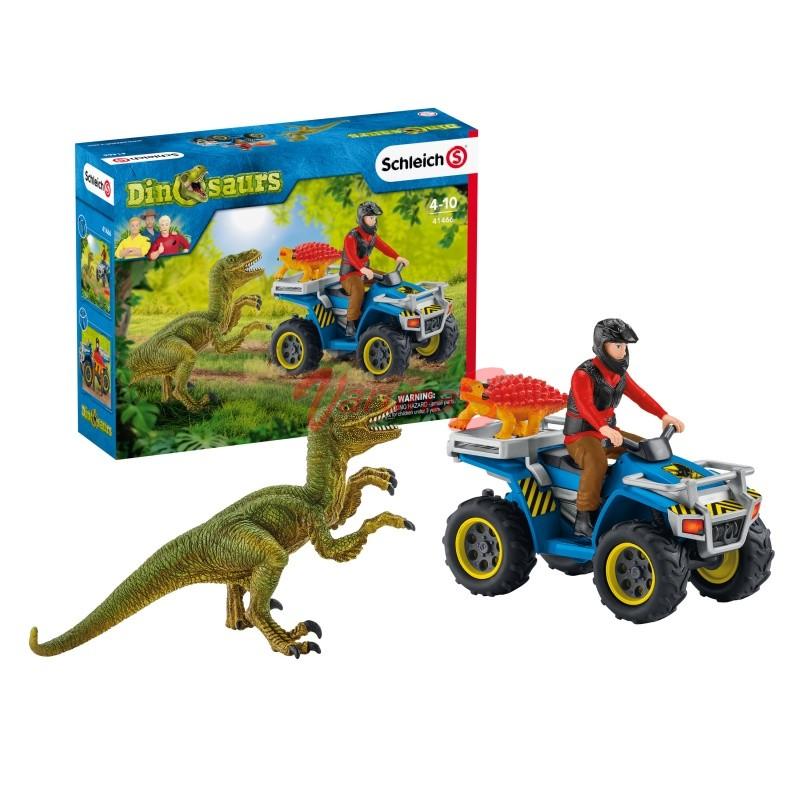 SCHLEICH Fuga pe ATV pentru a scapa de velociraptor